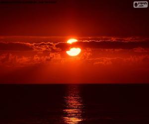 Puzle Západ slunce na moři