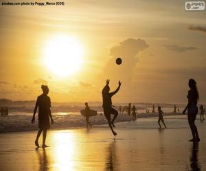 Puzle Západ slunce na pláži
