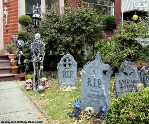 Puzle Zahrada, zdobené pro Halloween