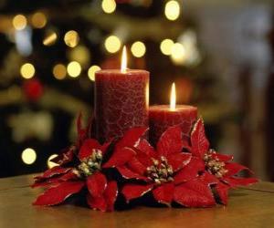 Puzle Zapálené svíčky jako vrchol ozdobený květy vánoční