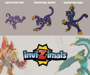 Puzle Zaphyra ve třech fázích Zaphyra Pup, Zaphyra Scott a Zaphyra Max, Invizimals
