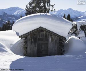 Puzle Zasněžená kabina
