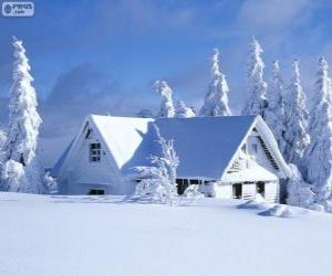 Puzle Zasněžené dům