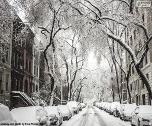 Puzle Zasněžené ulice