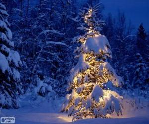 Puzle Zasněžený vánoční stromeček