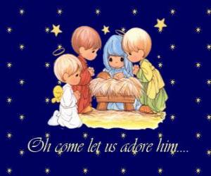 Puzle Zbožňující Ježíš dítě. Precious Moments