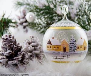 Puzle Zimní vesnice míč