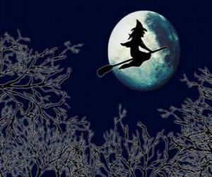 Puzle Zlá čarodějnice nebo zlé čarodějnice v ní magické koště plující směrem k zámku na úplněk v noci