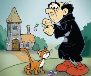 Puzle Zlý černokněžník Gargamel a jeho kočka Azrael, nepřátelé Šmoulové