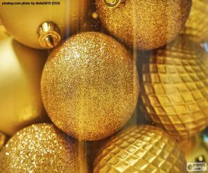 Puzle Zlaté kuličky na Vánoce