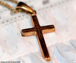 Puzle Zlatý přívěsek kříž