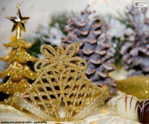 Puzle Zlatý vánoční zvonky