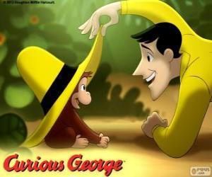 Puzle Zvědavý George a Ted, muž ve žlutém klobouku