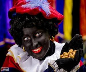 Puzle Zwarte Piet, černá Petr, asistent svatého Mikuláše v Nizozemsku a v Belgii